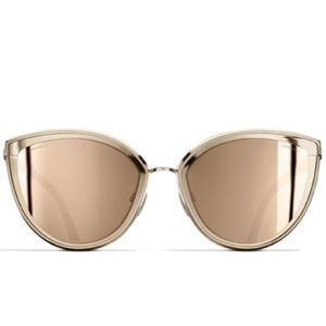 Chanel 18 K gold cat eye mirror sunglasses